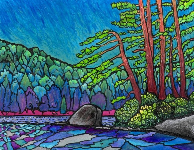 Painting of the Percy Lake shoreline with vibrant colours