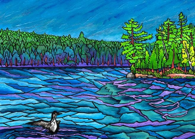 Painting of the Percy Lake shoreline with a loon floating along