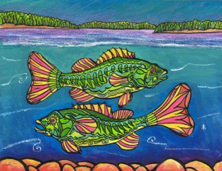 A painting by Mick Tilman of two fish swimming in a lake.